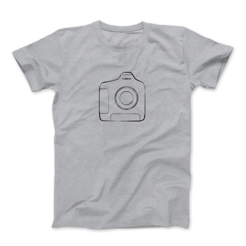 Canon 1DX grey faded t-shirt.