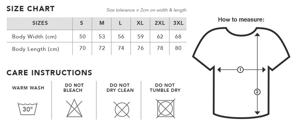 Hunters of Light t-shirt size chart