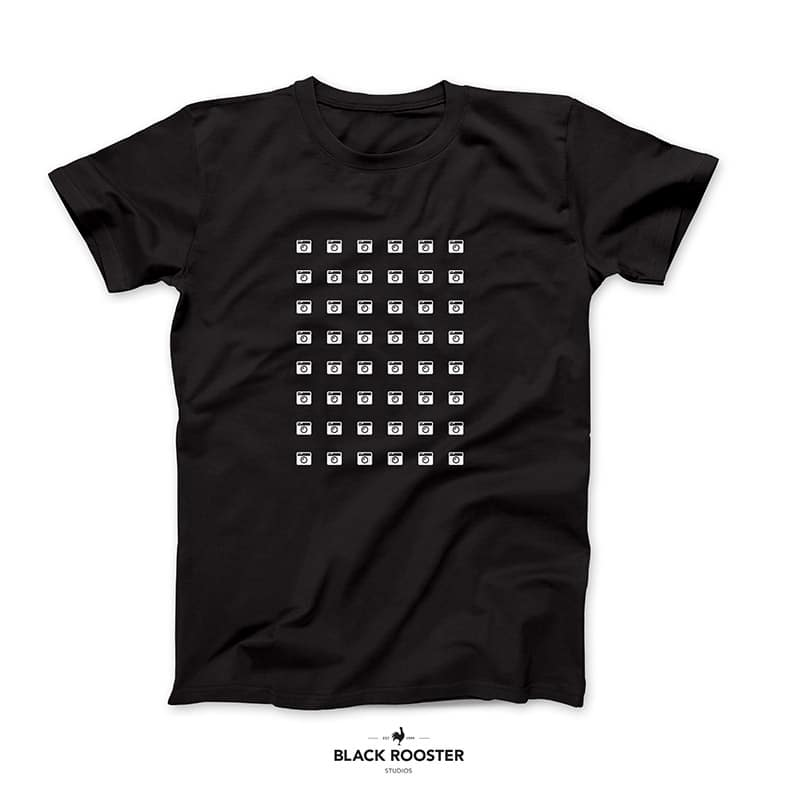 Camera grid T-Shirt. Black Rooster Studios